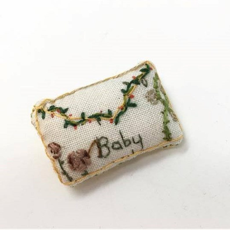 miniature hand embroidered envelope badge