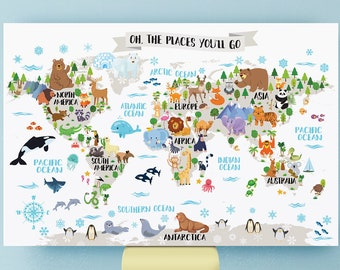 Printable Nursery Animal World Map For Kids Room Decor Animal Wall Map  World Map Nursery Map Kids Map Art Kid Wall Art World Map Poster Baby