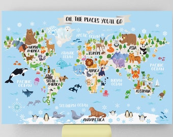 Kids World Map Etsy