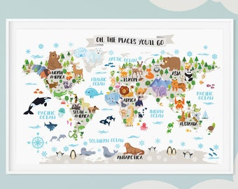 Kids world map etsy kids world map poster animal world map playroom wall decor kids room wall map world map gumiabroncs Image collections