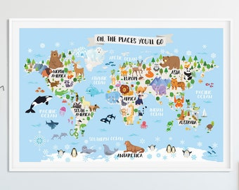 World map poster etsy animal world map for kids poster playroom wall decor kids room art world map nursery kids gumiabroncs Image collections