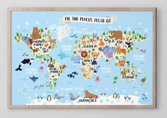 photograph relating to Printable Map for Kids named Printable Youngsters earth map nursery Animal environment map for youngsters World-wide map poster Children wall map Kid area map Playroom map artwork Nursery wall decor