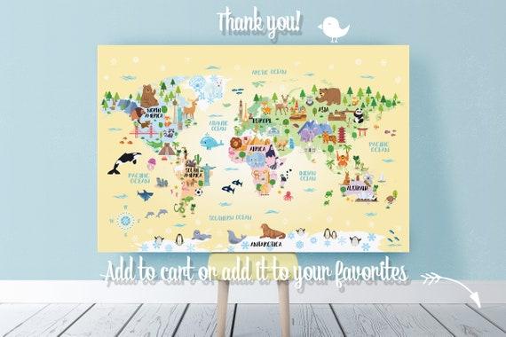 Printable Animal World map Kids room decor Nursery Playroom decor Boy Girl  New Baby room decor Gender neutral Gift for kids World map poster