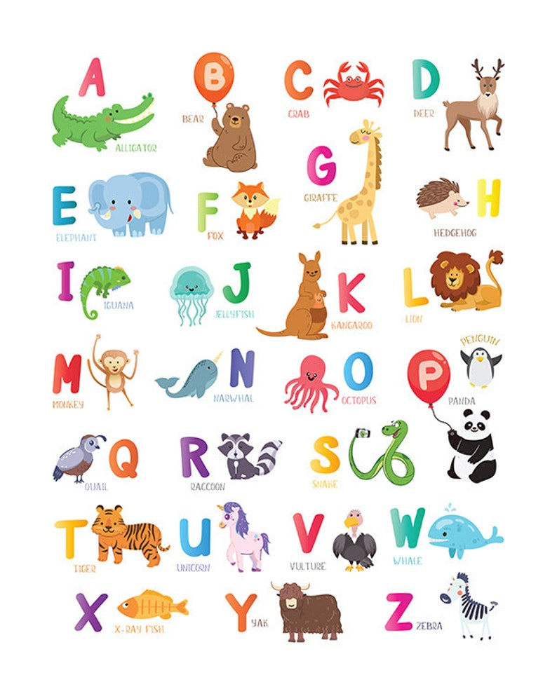 image regarding Abc Chart Printable titled Animal alphabet poster PRINTABLE ABC chart Youngsters wall artwork Woodland Nursery Decor Alphabet letter Youngster house decor Nursery animal abc wall print