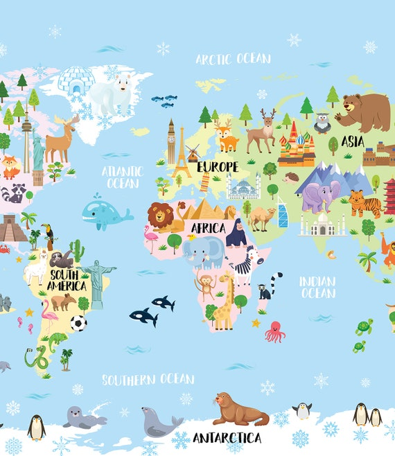 Printable Art for kids room, Animal world map for Kids, World map nursery  Animal wall art Kids map art Kid wall art World map poster Baby