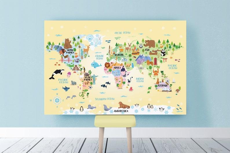 Printable Animal World map Kids room decor Nursery Playroom | Etsy