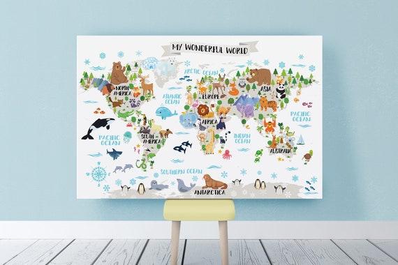 Printable Nursery Animal world map for Kids room decor Animal wall map  World map nursery map Kids map art Kid wall art World map poster Baby