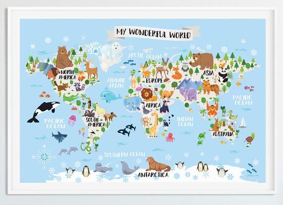 Printable Kids world map nursery Animal world map for kids World map poster  Kids wall map Baby room map Playroom map art Nursery wall decor