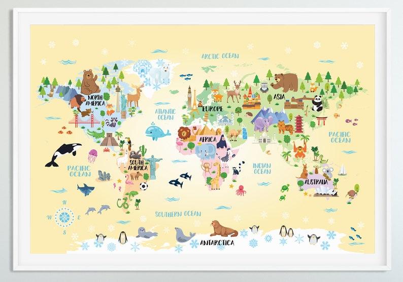 Printable Animal World Map Kids Room Decor Nursery Playroom Etsy