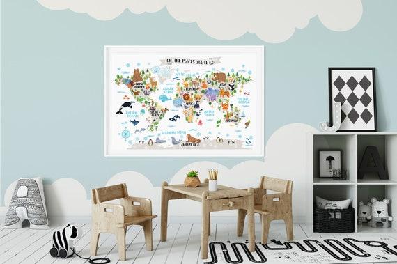 Kids World Map Poster Animal World Map Playroom Wall Decor | Etsy