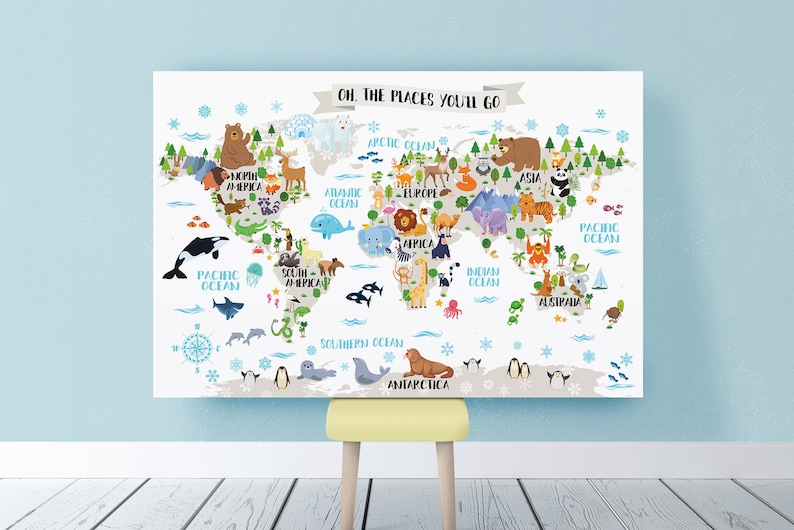 Printable Nursery Animal world map for Kids room decor Animal | Etsy
