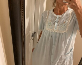 73ac79643f Vintage 70s Barbizon Nightie Blue Floral Lace Embroidered 1970s Night Gown  Medium