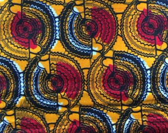 Cotton Bridge. African fabrics-textiles cotton fabric - yellow circles