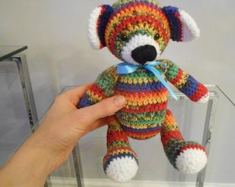 Rainbow teddy in double knit yarn.