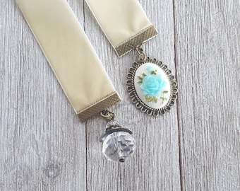 Blue Rose Cameo Bookmark Book Bauble -bookmark, ribbon bookmark, page marker, bookish, teacher gift, gift for her, book accessory, charm