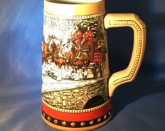 budweiser stein 1988 collectors series winter clydesdales horses - Budweiser Christmas Steins