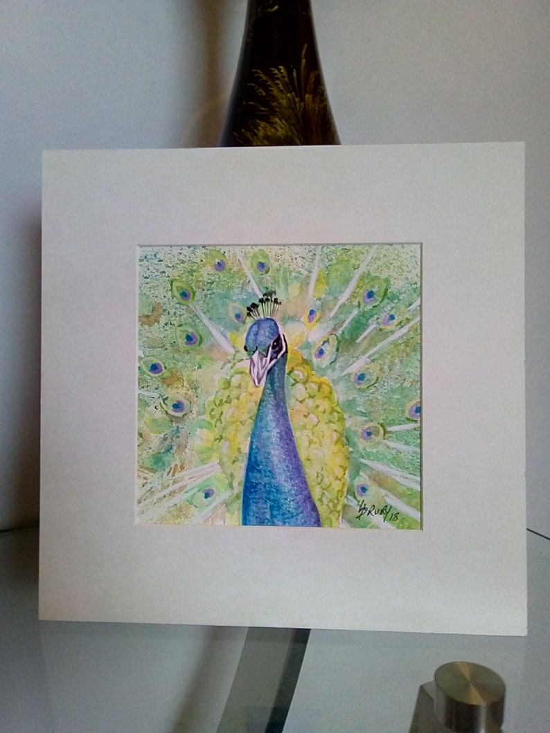Small painting peacock painting peacock wall art fine art watercolour painting of peacock fathers day gifts husband gift bird art