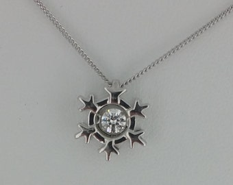 Sterling Silver and Swarovski Crystal Snowflake Pendant Necklace