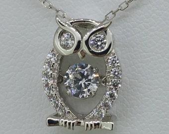 Sterling Silver and Swarovski Crystal Owl Necklace