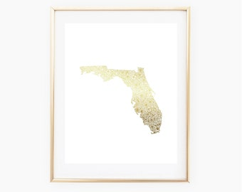 REAL GOLD FOIL Florida State Floral 8x10 Print
