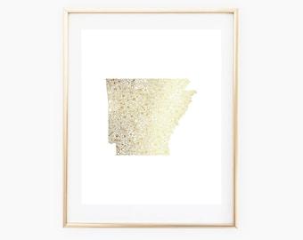 REAL GOLD FOIL Arkansas Floral State 8x10 Print