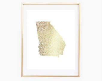 REAL GOLD FOIL Georgia State Floral 8x10 Print