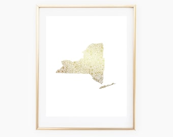 REAL GOLD FOIL New York State Floral 8x10 Print