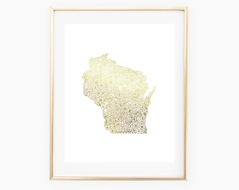 REAL GOLD FOIL Wisconsin State Floral 8x10 Print