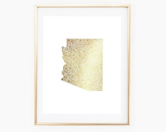 REAL GOLD FOIL Arizona State Floral 8x10 Print