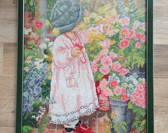 Girl in the garden hand embroidered art