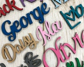 Personalised wooden script name word plaque sign - Words Letters MDF - Any font and colour