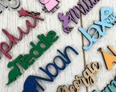Any Font Colour- Personalised wooden script name word plaque sign - Words Letters MDF
