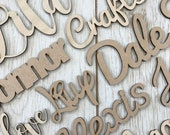 Any Font - Personalised wooden script name plaque sign - Words Letters MDF