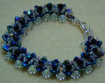 Blue and Silver Triangle Bracelet