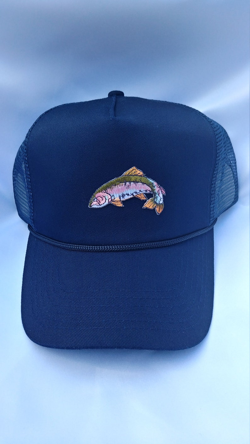 8cd60e6148e Trucker Hat made custom with rainbow trout patch