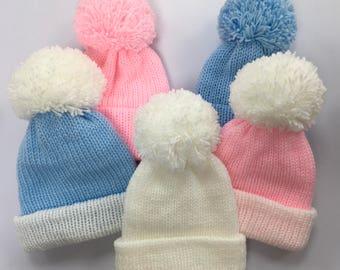 15a613ec326 Knitted Baby Pom Pom hats