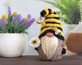 Bumble bee gnome, Summer gnome decor, Baby shower bee decoration, Garden decoration