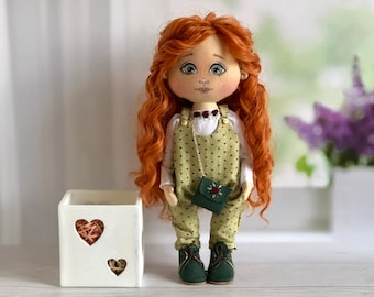 American girl Tilda doll with doll clothes, textile rag doll girl, cloth doll, handmade art doll, rustic home décor, baby toy, baby gift