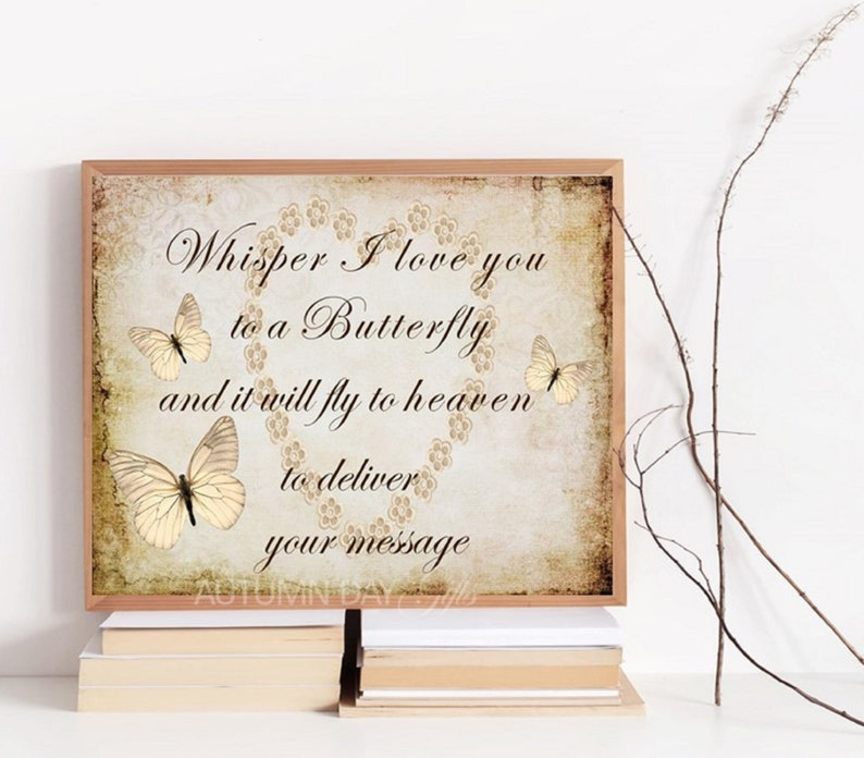 Whisper I love you to a butterfly memorial A4 print image 0