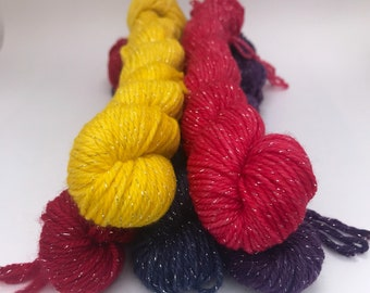 Sparkle Minis- hand dyed- 75/20/5 Superwash Merino/Nylon/Lurex
