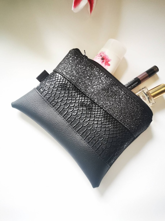 Upcycled Carry-All Pouch Snake Skin /& Leather