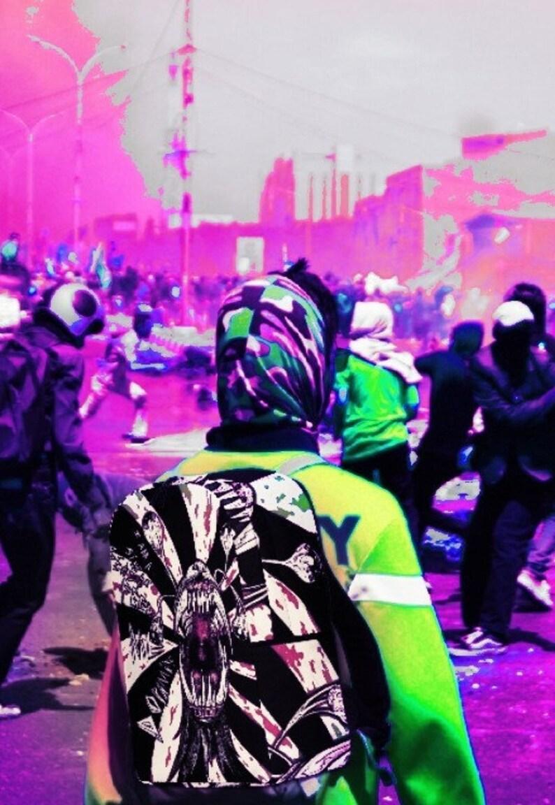 Dopamine BEAST exploding wolf skull punk rock nosebleed backpack. goth