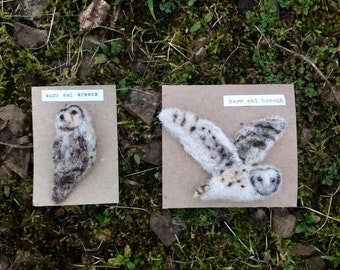 Needle felted barn owl bird brooch - handmade with plant dyed cumbrian wool. felt, pin badge, quirky broach, eco gift,wildlife flying