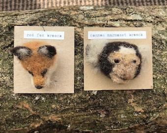 OOAK Needle felted red fox or Marmoset monkey head brooch - handmade, plant dyed, felt, pin badge, broach, mammal, primate exotic British