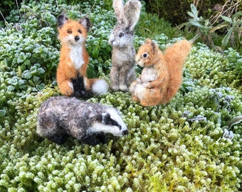 Needle felted woodland animal miniature sculpture - red squirrel, fox, hare or badger handmade plant dyed eco gift, wildlife sculpture felt
