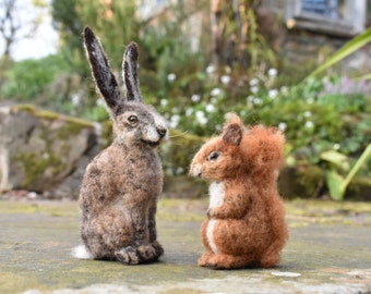 Needle felted fox / hare / red squirrel sculpture - handmade and plant dyed eco gift, felt animal, wildlife sculpture