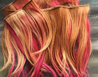 """Dark Blonde and Hot Pink 10""""  Full Set Clip In Extensions, 100% High Quality Human Hair Clip In Extensions Full Set READY TO SHIP"""