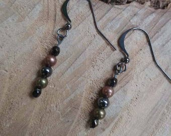 mixed metals with gunmetal earwire drop earrings