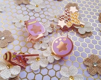 Honey Henshin Rose Gold Enamel Pins