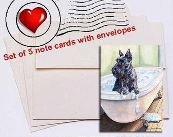 Scottie Bath Scottish Terrier Note Card Set